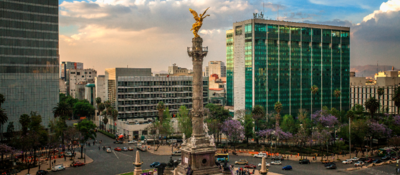 Downtown mexico city with angel statue