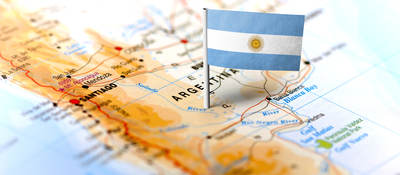 Argentina map with flag