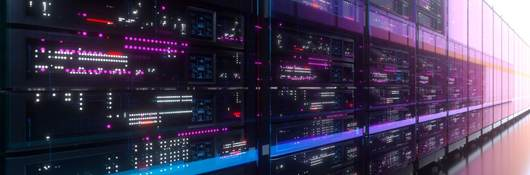 Data Center - Servers with flashing lights