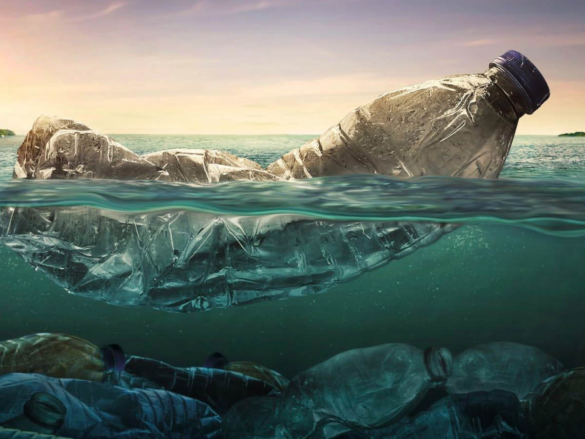 Plastic bottles of water on the ocean