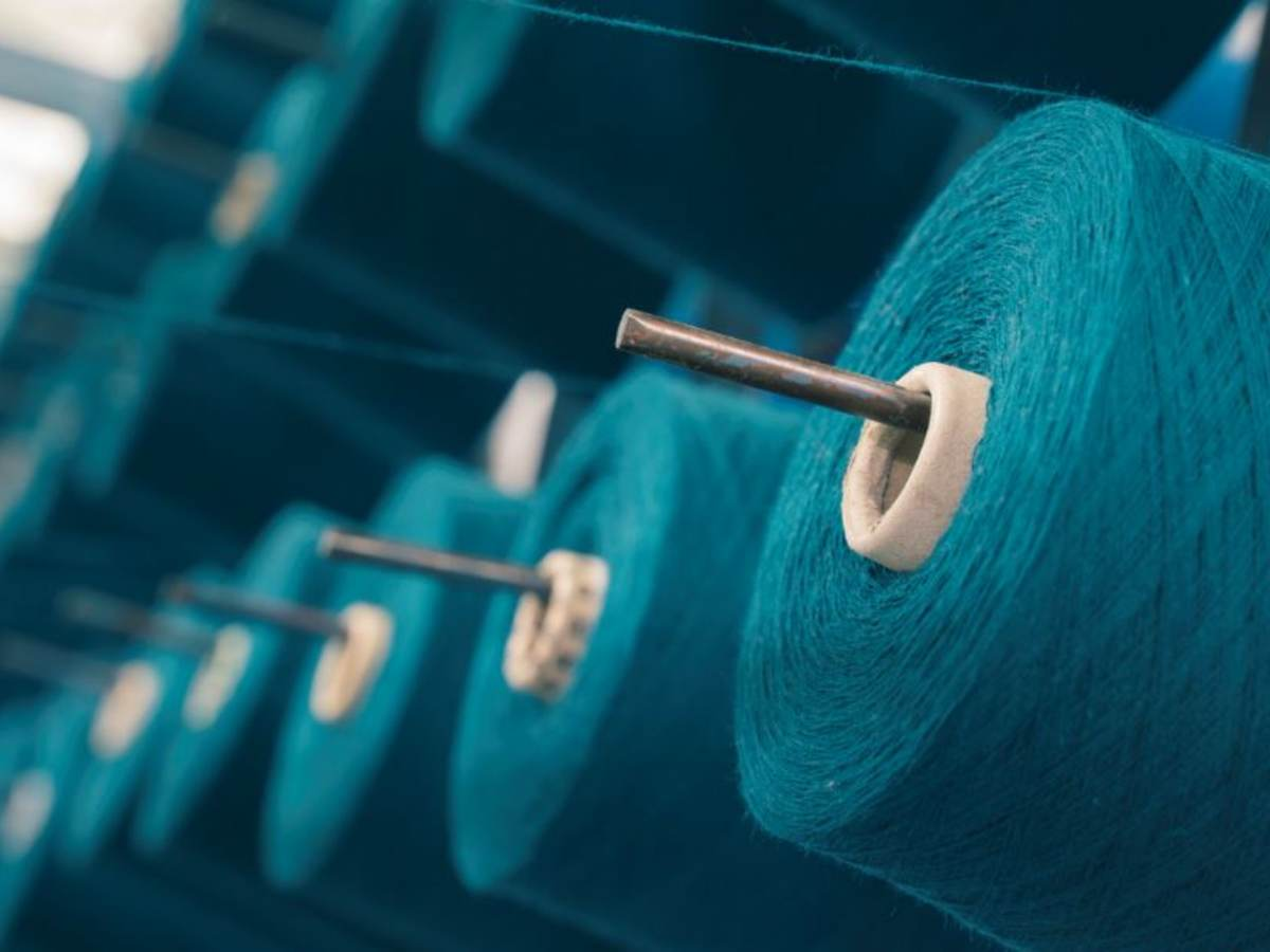 Colored yarn spools of industrial warping machine in textile factory