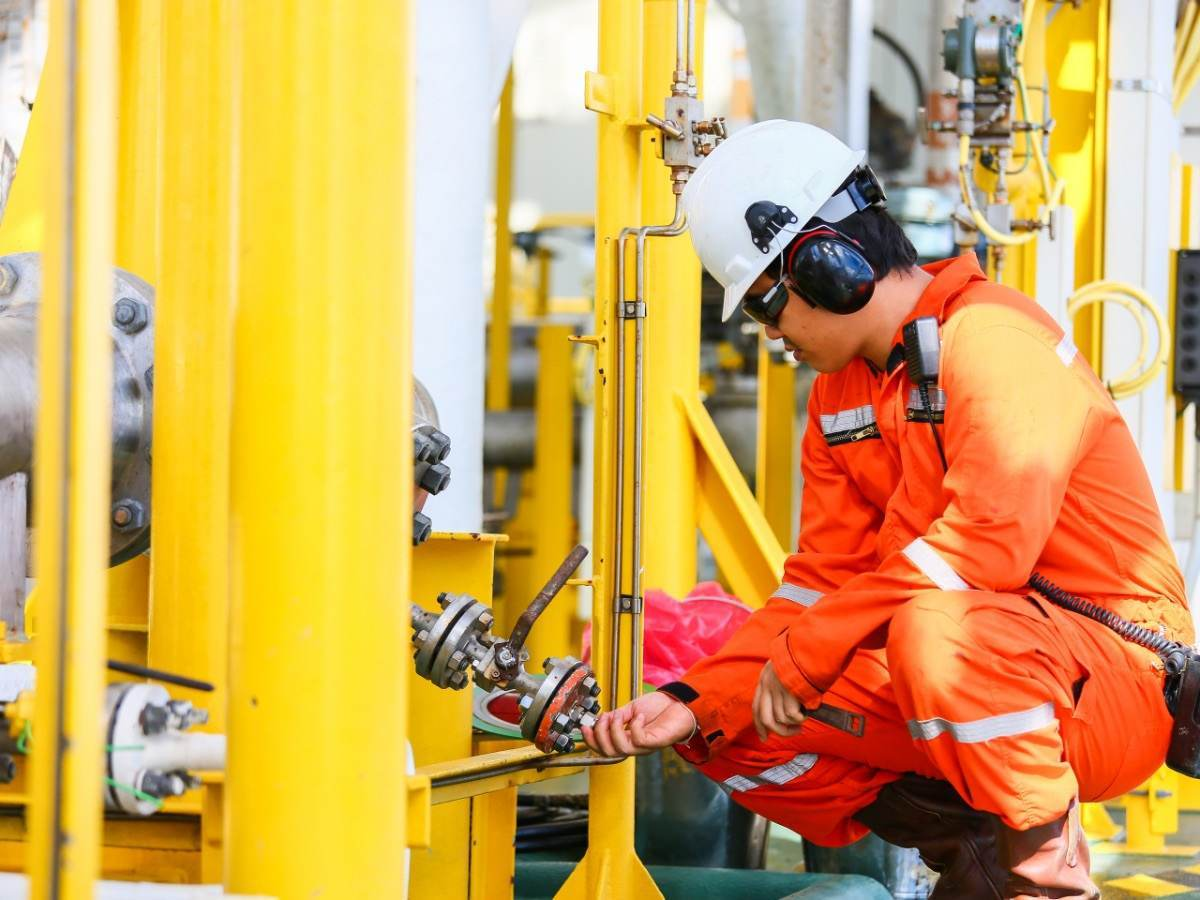 Man working on Oil platform