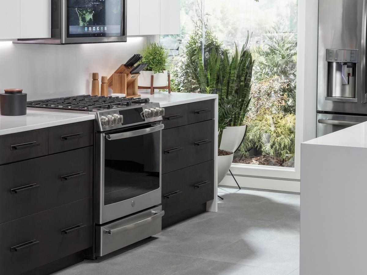 Kitchen with black smart appliances
